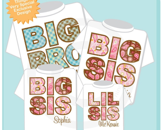 Matching Sibling Set of Four - Big Brother Big Sister Big Sister Little Sister - Plaid and Paisley Tees or Onesie Outfit tops 10262011a