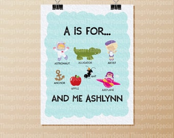 Alphabet Print, Children's Room Art Prints, for girls whose name starts with A. Alphabet learning prints. 09262019d