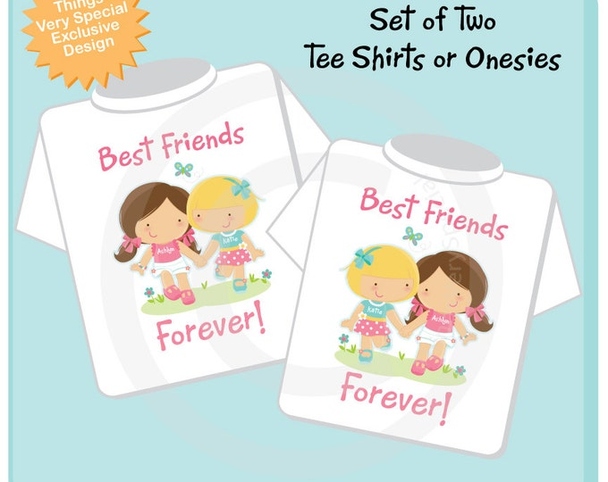 Set of Two, Personalized Best Friends Forever Shirt or Onesie with two Girl Best Friends (06062014a)