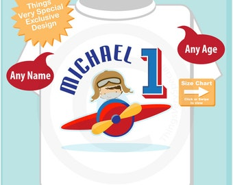 Airplane First Birthday Gift 1 Year Old Boys Personalized Pilot Shirt Or Onesie With Childs Name And Age 05022018a