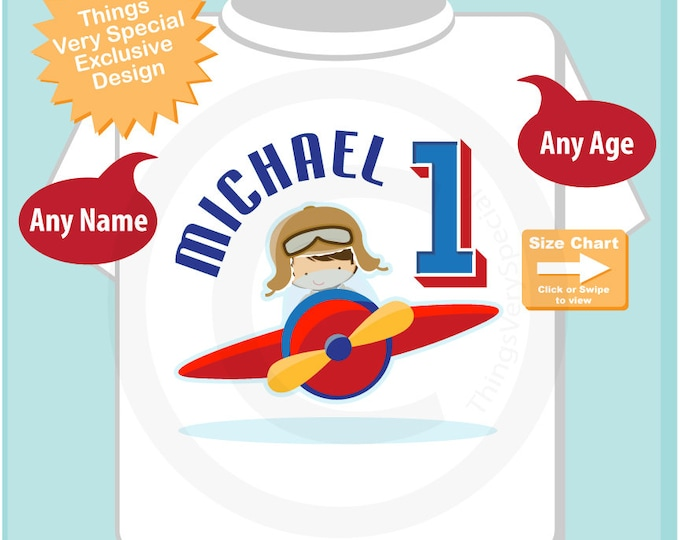Airplane First Birthday Gift, 1 year old Boy's Personalized Pilot Birthday Shirt or Onesie with childs name and age 05022018a