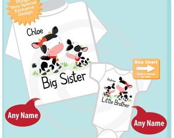 Personalized Set of 2 Big Sister and Little Brother Cow Tee Shirts or Onesies Farm Theme (10242014g)