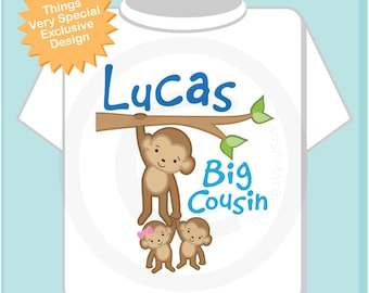 Big Boy Cousin Shirt or Onesie, Monkey Shirt, Big Cousin Boy Monkey twin babies, Personalized One Boy and One Girl Baby cousin 03262014e
