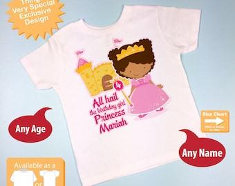 Fourth Birthday Shirt, African American Princess Birthday Shirt, Personalized Cute Princess 4th Birthday Girl Tee Shirt 09212015az