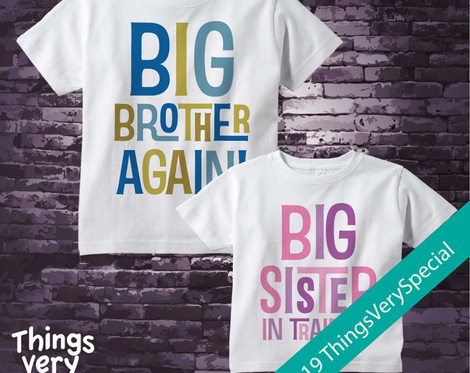 Set of Two, Sibling Big Brother Again and Big Sister In Training Tee Shirts or Onesies, Pregnancy Announcement 02252019a