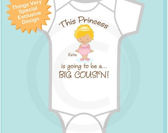 Girl's Blonde Princess is going to be a Big Cousin Tee Shirt or Onesie, personalized Pregnancy Announcement : (06212013a1)