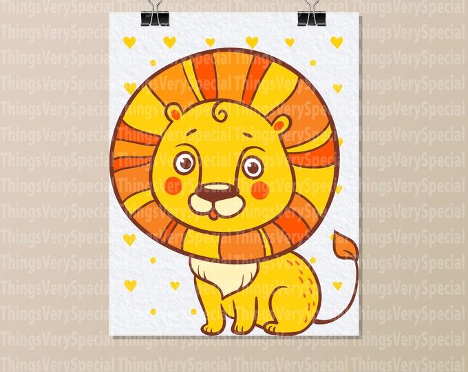 "Lion Art Print, Children's Room Art Prints, Cute Lion Art Print. 8.5"" x 11"" Art Print for Children's Room. 09242019j"