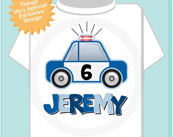 Boys 6th Birthday Police Shirt, Personalized Police Car with Age and Name Shirt, Policeman Shirt with childs name and age (01222014c)