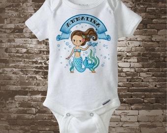 Personalized Mermaid Onesie Bodysuit, blonde, red head, brunette, or black hair, 100 percent cotton Onesie 06192018a