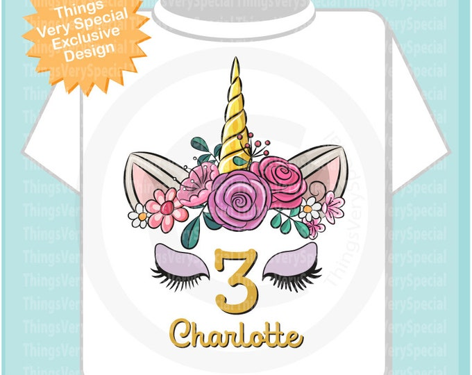 Unicorn Birthday shirt, 2, 3, 4, 5, 6, 7, 8, 9, 10,  Any age can be done, Cotton Tee shirt personalized with name and age. 08152019a