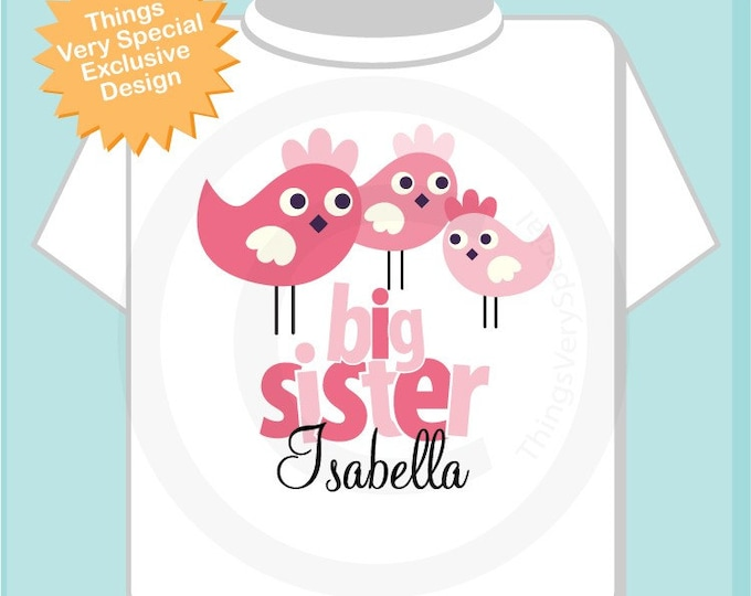 Big Sister shirt or Onesie shown with two littler sisters in the design of Cute Birdies, Personalized Pregnancy Announcement (01282014d)