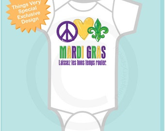 Peace Love Mardi Gras Onesie, Personalized Mardi Gras Shirt or Onesie, Mardi Gras Shirt for Toddlers and Kids (02072012b)