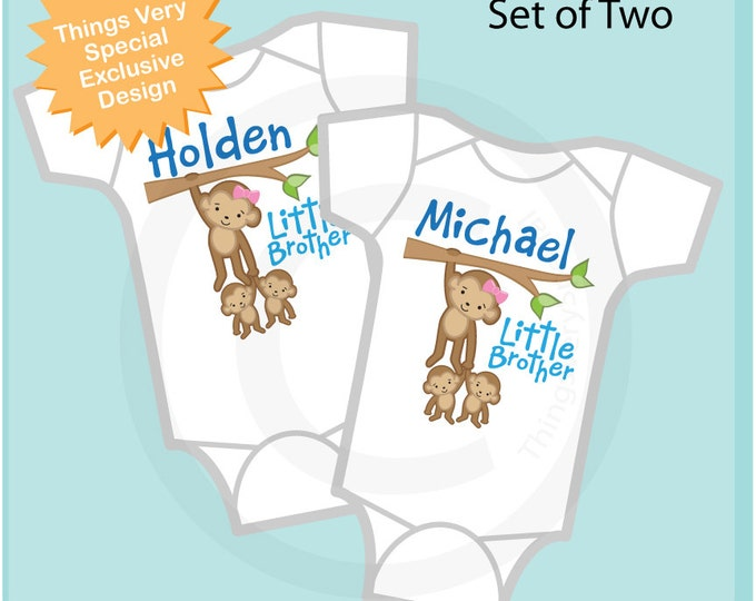 Boys Set of Two Twin Little Brother Monkeys with Big Sister or Big Brother Onesies or Tee Shirts, Baby Shower Gift 03152013a