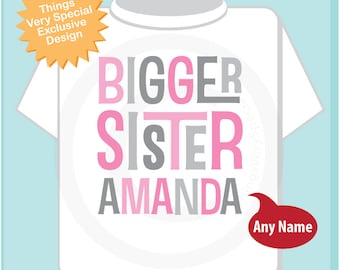 Girl's Personalized Bigger Sister Onesie or Tee Shirt with Pink and Grey Text (05292014e)