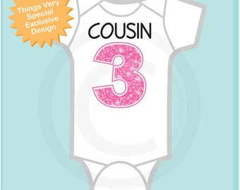Cousin number 3, Additional Cousin Number, Big Pink Number 3 for Third Cousin, Tee or Onesie (01302017d)