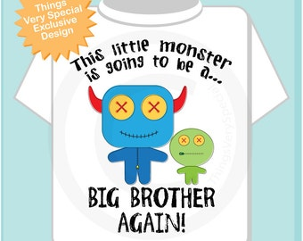 Boy's This Little Monster is Going to Be A Big Brother Again Shirt or Onesie, Personalized, Monster Brother Shirt 02172015b