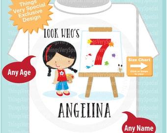 Painting Theme Seventh Birthday t-shirt, 7th Birthday Shirt, Personalized Girls Birthday tee shirt, Look Who's 7 03212019a