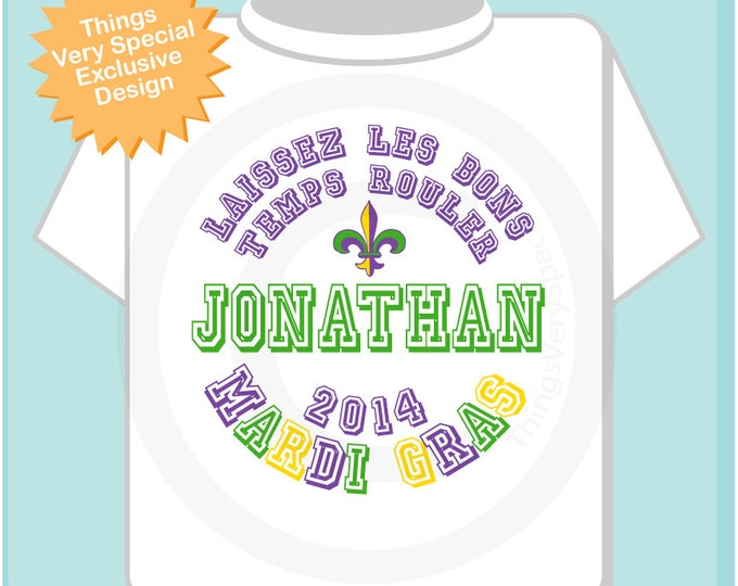 Mardi Gras Shirt, Personalized Mardi Gras Shirt or Onesie, Mardi Gras Shirt for Toddlers and Kids (02072012c)