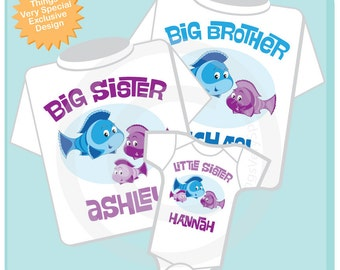 Sibling Fish Shirt Set, Set of Three, Big Brother Shirt, Big Sister, and Little Sister,  Personalized Shirt or Onesie 06122012b