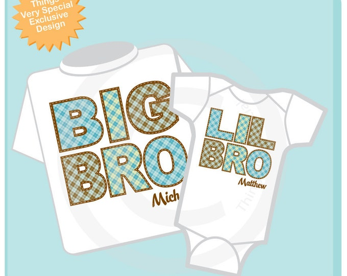 Set of Two, Big Brother and Lil Little Brother Shirt Personalized Infant, Plaid Toddler or Youth Tee Shirt or Onesie (01022014d)