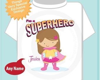 Girl's Personalized Light Brown Long Hair Superhero Child's Tee Shirt or Onesie (04152014c)