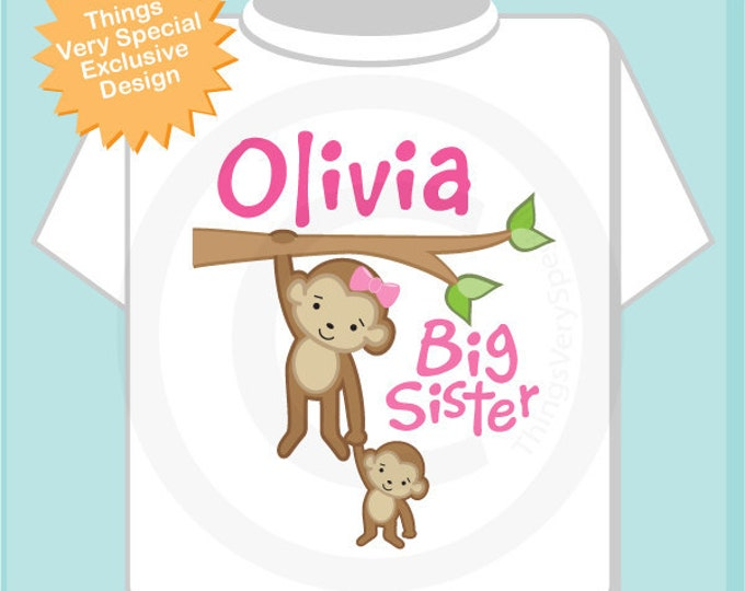 Big Sister Shirt or Onesie , Personalized Big Sister Monkey Shirt with Little Brother or Unknown Sex Baby TShirt (12242013a)