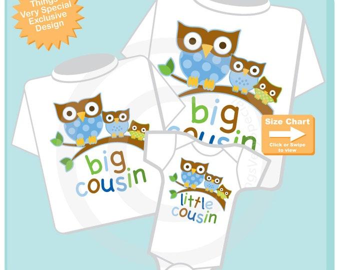 Set of Three, Big Cousin Boy Owl Shirt, Big Cousin Boy Owl, and Little Cousin Boy Shirt Set Owl Shirt or Onesie (12122013a)