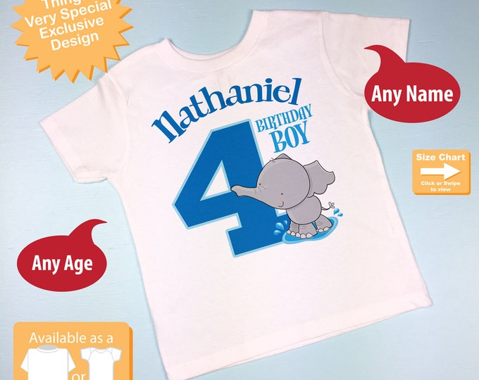Personalized Fourth Birthday Elephant Tee Shirt or Onesie, 4th Birthday Elephant tee, Safari Theme, Any Age (11202015b)