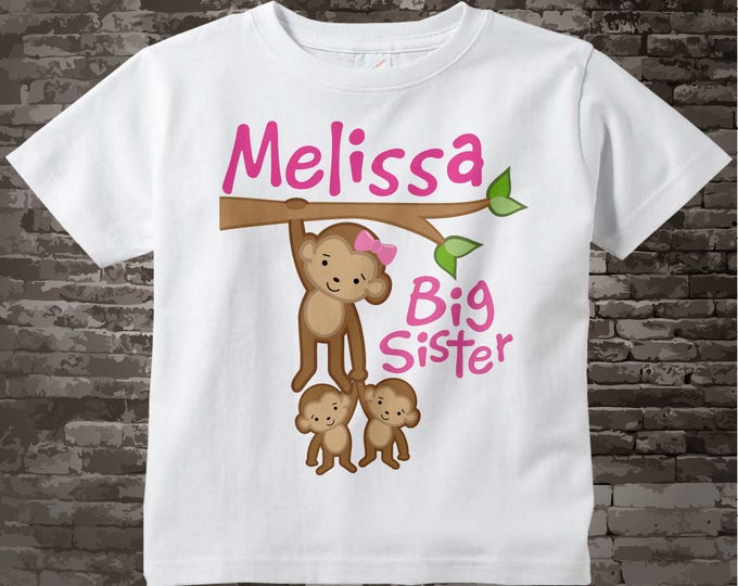 Big Sister Shirt, Monkey Shirt or Onesie, Big Sister Monkey with twin babies, Personalized Big Sister Two twin Monkeys Tee Shirt 03012012c