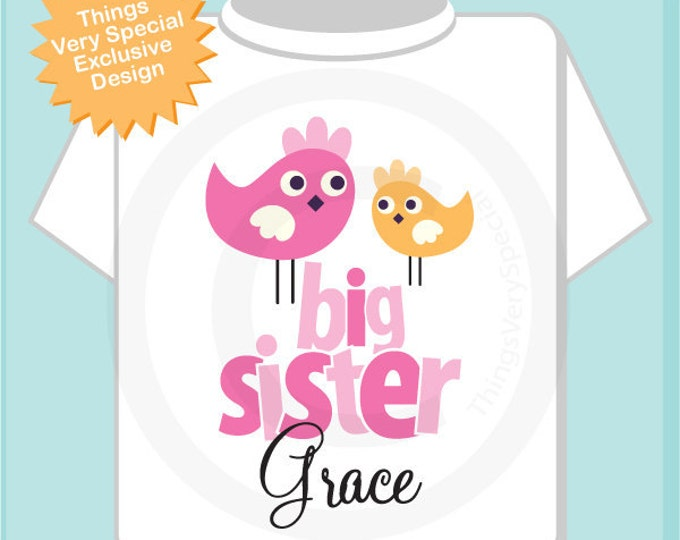 Big Sister Shirt - Big Sister Onesie - Sister Bird Shirt - Sibling Shirt - Personalized Big Sister T-shirt - Pink Orange Birdies (12142011a)