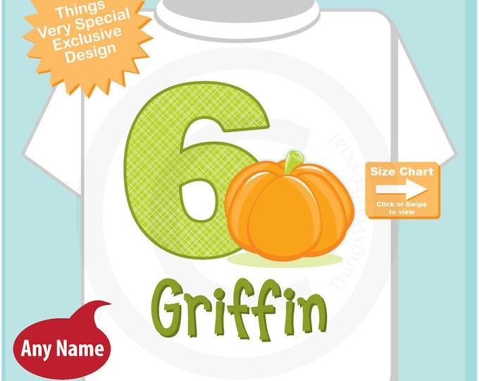Personalized Sixth Birthday Pumpkin Tee Shirt, 6th Birthday Halloween Theme T-Shirt, Any Age 09152016az