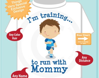 Personalized I'm Training to Run with Mommy Children's Tee Shirt or Onesie (07302014i)