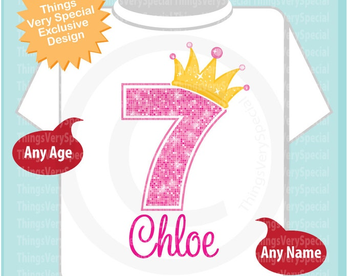 7th Birthday Shirt, Pink Seventh Birthday Outfit top, Personalized Girls Birthday Shirt - 7th birthday girl - birthday girl gift - 04112019a
