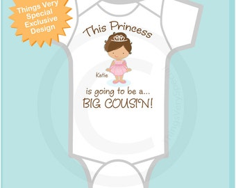 Girl's Brunette Princess is going to be a Big Cousin Tee Shirt or Onesie, personalized Pregnancy Announcement : (08292016b)