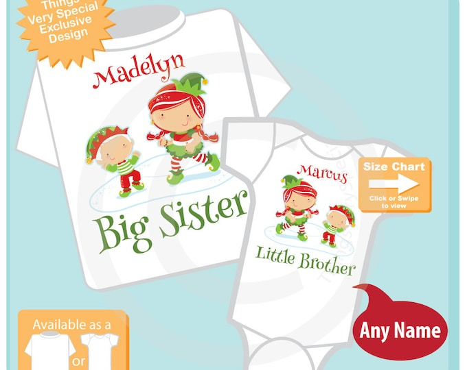 Christmas theme Set of Two, Big Sister Elf Outfit Shirt, and Little Brother Elf Outfit Onesie or Shirt Set Personalized (11082016j)