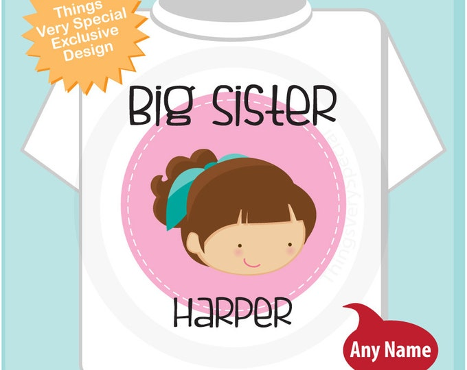 Big Sister Shirt or Onesie, Personalized Big Sister Tee Shirt or Onesie with brown girl with high ponytail (06172014c)