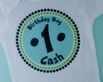 Personalized First Birthday Boy Circle Design Tee or Onesie Green and Blue 08302010az