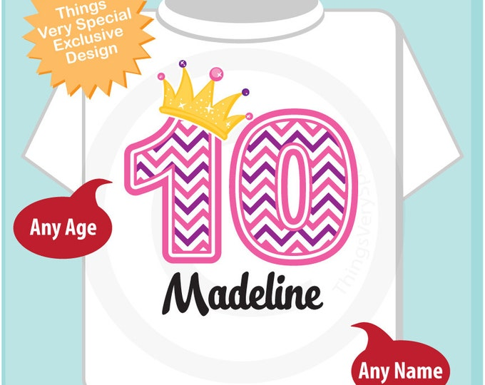 Tenth Birthday Shirt, Pink Chevron 10 Birthday Shirt, Any Age Personalized Girls Birthday Shirt Pink Age and Name Tee for kids 02092016a