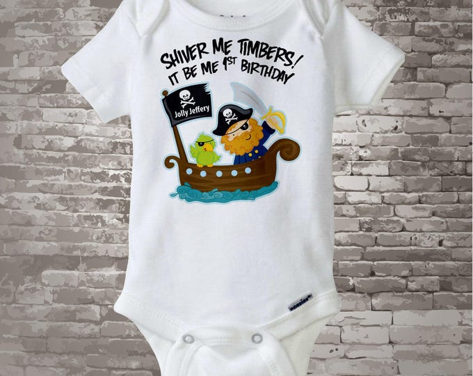 Personalized Pirate First Birthday Shirt or Onesie with Your Child's Name and Age 01082012a1