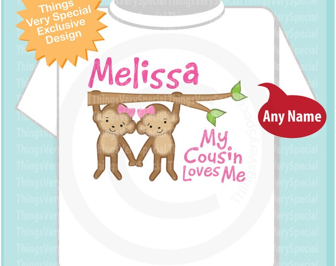 Personalized My Cousin Loves Me Onesie or Tee Shirt with cute little monkeys 07172019b