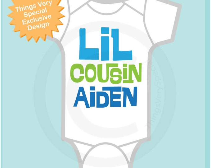 Little Cousin Onesie or Shirt, Personalized Little Cousin Shirt, Infant, Toddler or  Youth sizes t-shirt (06142012g)