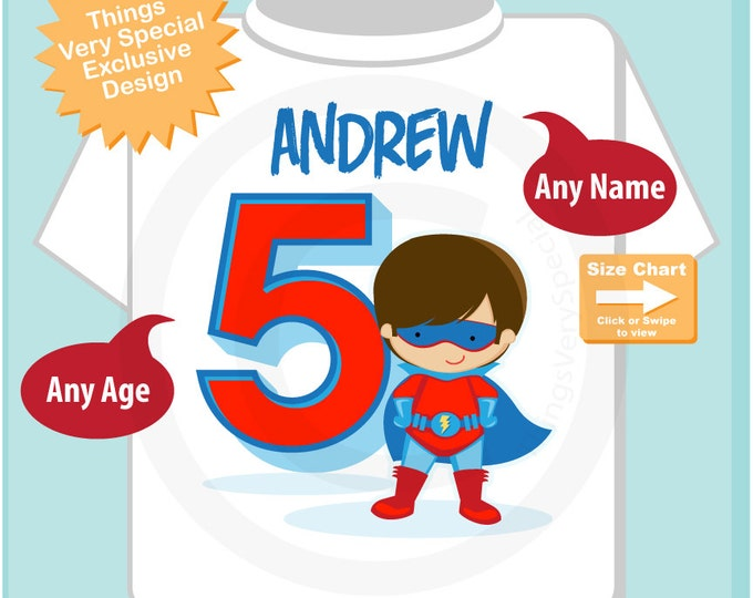 Boy's Personalized Superhero 5th Birthday Tshirt - Birthday Boy Shirt - Superhero birthday party theme 08302016a
