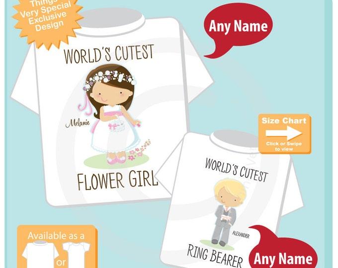 Flower Girl, Ring Bearer Set of Two, Personalized Flower Girl Shirt, and Ring Bearer Shirt or Onesie (07172015d)