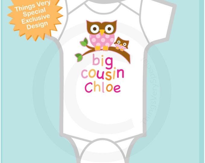 Big Cousin Onesie, Big Cousin Owl Tee Shirt or Big Cousin Onesie Pregnancy Announcement, Owl Big Cousin (07092013b3)
