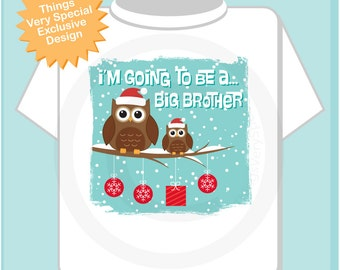 Boy's I'm Going To Be a Big Brother Owl Shirt or Onesie Winter Christmas Scene Pregnancy Announcement (11272012b)
