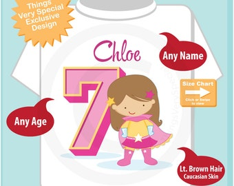 Girl's Personalized Superhero 7th Birthday Tee Shirt with light brown hair and caucasian skin 09072016c