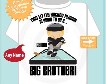 Big Brother Shirt - Big Brother Gift - Hockey Big Brother - Boy's I'm Going To Be A Big Brother Hockey Player tee shirt or Onesie 07162014e