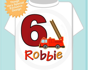 Sixth Birthday Fire Truck Shirt, Personalized 6 year old Fireman Shirt, 6th Birthday Fire truck Shirt with name and age 06182018a