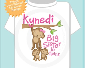 Big Sister to Twins Shirt or Onesie, Monkey Shirt, Big Sister Monkey with twin babies, Personalized Big Sister (05142013a)