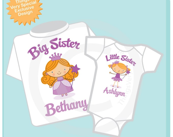 Big Sister Shirt, and Little Sister Redhead Princess Onesie or Shirt Set Personalized Princess Tee Shirt or Onesie Set of Two